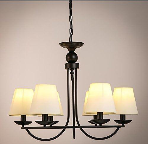 SDKKYTejido antiguo país americano abarca el salón Candelabro Rústico moderno europeo de tela de hierro 6 lámpara de cabeza 450*460mm , blanco