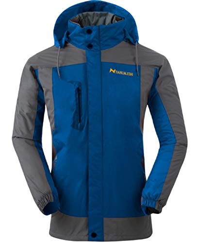 AngelSpace Collar Warm Stand Sleeve Splicing Blue Hood Coat Jacket Waterproof Long Mens gwAUw6