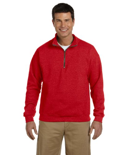 (Gildan Adult Vintage 1/4 Zip Sweatshirt Top (M) (Red))