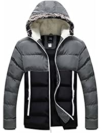 Men's Winter Outwear Hooded Cotton Jacket Hit Color Quilted Coat