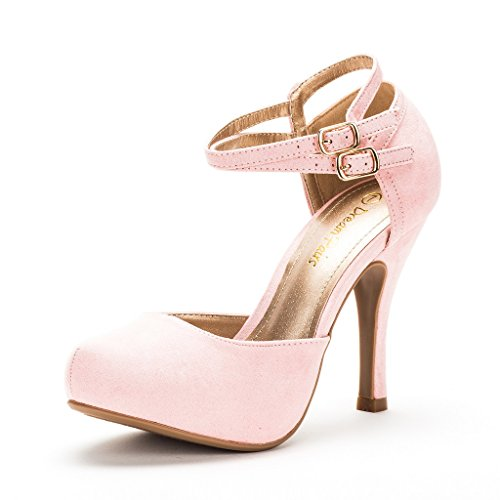 DREAM PAIRS OFFICE-02 Women's Classy Mary Jane Double Ankle Strap Almond Toe High Heel Pumps New Pink Suede Size -