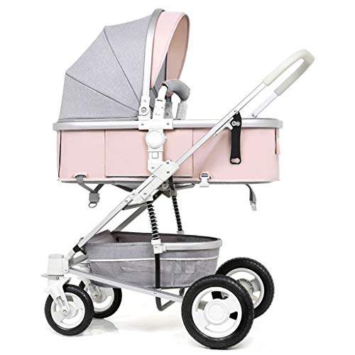 (Portable Mini Pushchair,Storage Slim Lightweight Hood Baby Stroller,Travel Cover Removable/Adjustable Car Trolley 614 (Color : Pink))