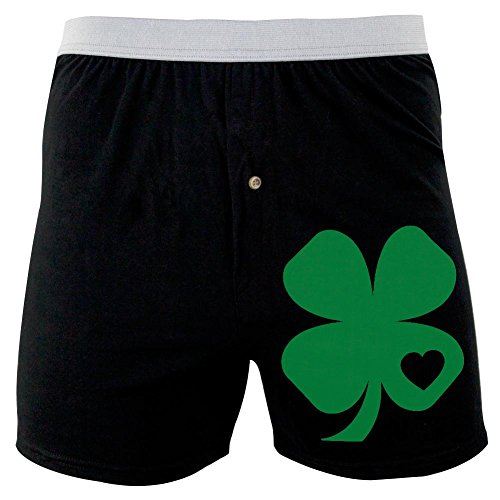 Old Glory ST. Patricks Day Shamrock Heart Soft Knit Boxer Black X-LG (Shamrock Boxer Shorts)