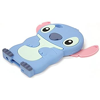 Bukit Cell 3D Disney Case Bundle - 5 items: BLUE 3D Cute Stitch Soft Silicone Case Cover for iPod Touch 4 4G 4th Generation