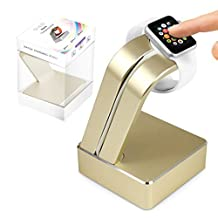 G-HUB® - SleekStand Charge Station for Apple Watch (Fits Both Sizes 42mm / 38mm) - Desk Stand Cradle for Convenient Display with Built In Insert Slot for Grommet Wireless Charger (sold separately) for use as a fully functional Charging Dock for your Apple iWatch (Fits All 2015 Release Versions - Original BASIC Model / SPORT Version / and EDITION Models) - GOLD