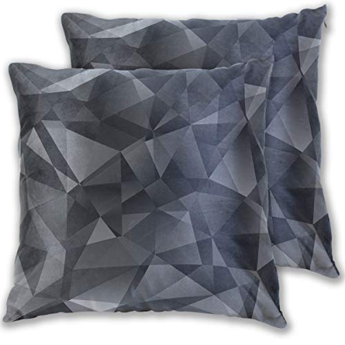 for Bed Black Crystal Style Abstract Texture Diamond Double Sided Cotton Velvet Square Pillow Slipcovers 20x20 Inch Decorative Pillows for Bedroom,Set of 2 ()