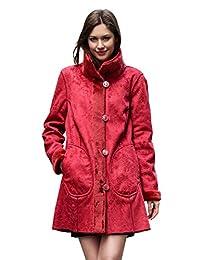 Adelaqueen Women's Lush Faux Suede Faux Fur Coat Floral Print Reversible Coat