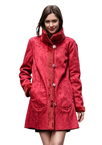 Adelaqueen Clearance Women's Red Lush Reversible Faux Suede Coat Floral Print Size XXXL