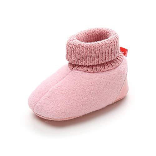 Soft Walker Shoes - Baby Boys Girls Cozy Fleece Booties With Non Skid Bottom Infant First Walker Sock Shoes (12cm(6-12 months), C-Pink)