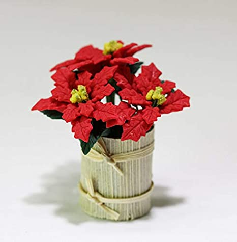 Dollhouse Miniature 1:12 Poinsettias in Basket Arrangement by Bright deLights