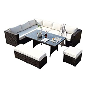 Ecosunny 9 seater L Shaped Rattan Dining Set