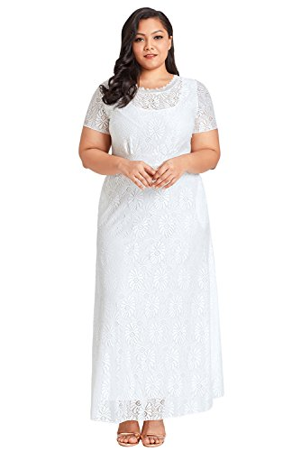 Gloria&Sarah Women's Plus Size Lace Short Sleeve O-Neck Maxi Party Gown Dress With Pocket,White,XXXX-Large (Size 28 White Wedding Dress)