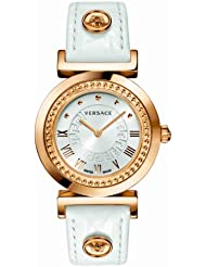 Versace Womens P5Q80D001 S001 Vanity Rose Gold Ion-Plated Watch with Leather Band