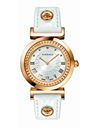 "Versace Women's P5Q80D001 S001 ""Vanity"" Rose Gold Ion-Plated Watch with Leather Band"