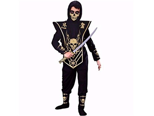Boys X-Large 14-16 Skull Ninja Halloween Costume 6 Piece Set