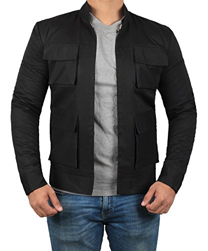 Empire Strikes Back Jacket - Han Solo Costume Merchandise (Black - Star War Solo Jacket, L)