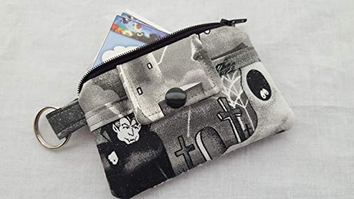 Halloween Mini Wallet Money Pouch Key Chain Fabric Card Holder Dracula Castle Spider Web]()