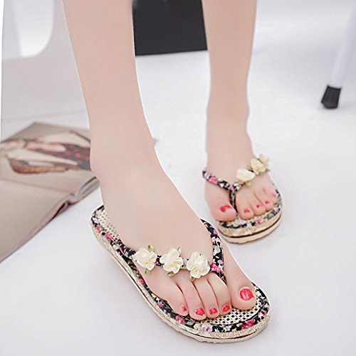 Ouneed ® Moda mujer verano sandalias Peep-toe de flores de Casual de playa ojotas Negro