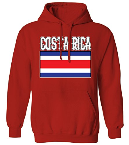 - Bold Costa Rica Flag Lettering Rican South American Latin Mens Hoodie Sweatshirt (Red, 2X-Large)