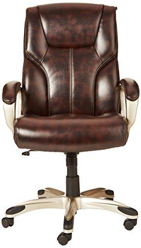 AmazonBasics High-Back Executive Swivel Chair - Brown with Pewter Finish by AmazonBasics (Image #2)