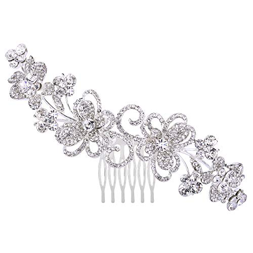 BriLove Women's Bohemian Boho Wedding Crystal Hollow Flower Vine Butterfly Hair Comb Clear Silver-Tone ()