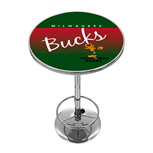 NBA Milwaukee Bucks Chrome Pub Table, One Size, Chrome by Trademark Global