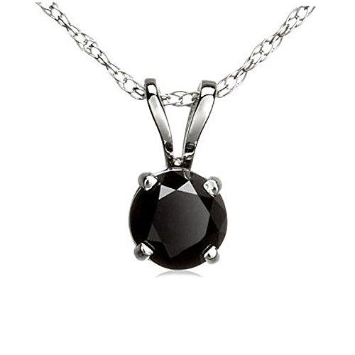 0.50 Carat (ctw) 14k White Gold Round Black Diamond Ladies Solitaire Pendant 1/2 CT