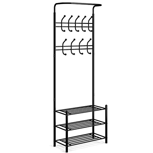 Coat Shoe Racks - HOMFA Metal Entryway Coat Shoe Rack 3-tier Shoe Bench with Coat Hat Umbrella Rack 20 Hooks (Black 18 Hooks)