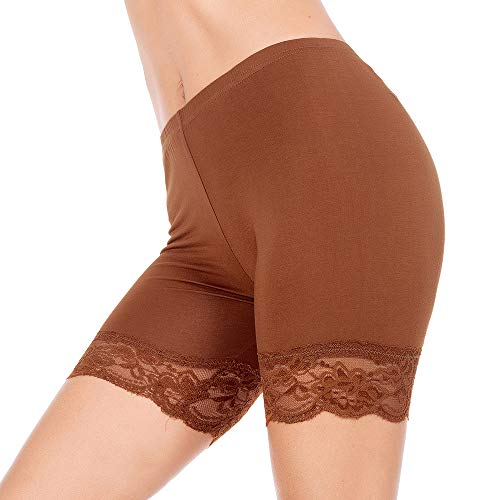 Slip Shorts for Women Short Leggings Mid Thigh Legging Plus Size Lace Undershorts Dark Brown XX-Large (Best Shorts For Big Thighs Womens)