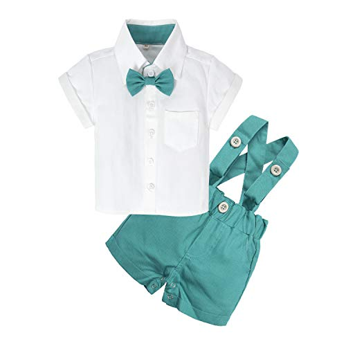 BIG ELEPHANT Baby Boys'2 Piece T-Shirt Suspender Shorts Clothing Set NA42 Green ()