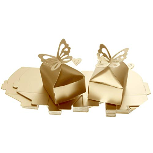 Chocolate Sweet Champagne - 50pcs Butterfly Gift Boxes Sweet Candy Boxes Chocolate Gift Treat Boxes for Wedding Party Favor - Champagne