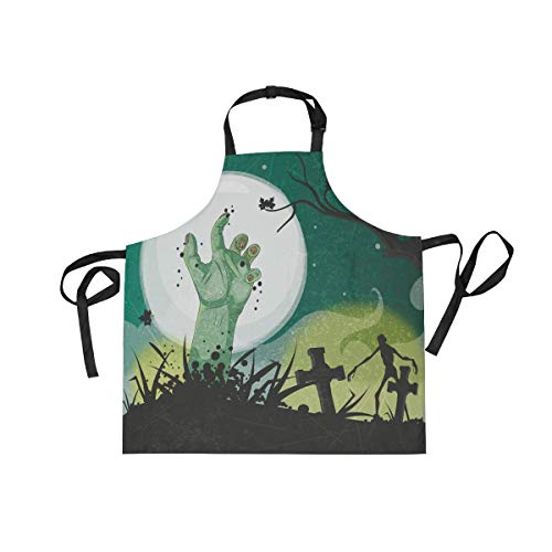 DOPKEEP Scary Halloween Bib Apron Adjustable Size Kitchen