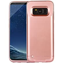 REDGO Galaxy S8 Battery Case, 4200mAH Rechargeable External Battery Pack with LED Indicator, Slim Lightweight Power Bank Charging Case Cover for Samsung Galaxy S8 (Rose Gold/ Pink)