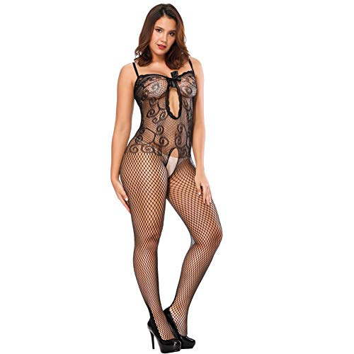 f377b370707 Oasisocean Women s Sexy Spiral Lace Bodystocking Perspective Underwear  Lingerie with Lace Detail Black