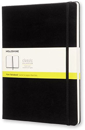 Moleskine Classic Hard Cover Notebook, Plain, XL (7.5