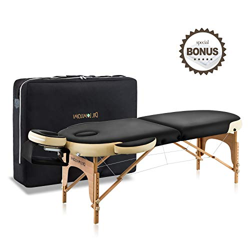 Dr.lomilomi Bicolor 28″ Oval Portable Massage Table 003 Spa Bed with Carry Case and Cover Sheet Set (Black-Vanilla)