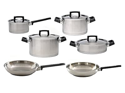 Berghoff RON Stainless Steel Covered Sauce Pan, Covered Casserole, Covered Deep Skillet, Covered Stockpot and Fry Pan Cookware Set 10pc