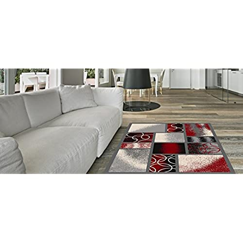 Anti Bacterial Rubber Back AREA RUGS Non Skid/Slip 5x7 Floor Rug | Red  Squares Indoor/Outdoor Thin Low Profile Living Room Kitchen Hallways Home  Decorative ...