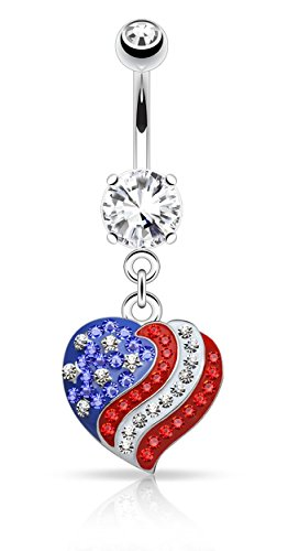 Flag Belly Ring - Forbidden Body Jewelry American Flag Heart Pave CZ Crystal Dangle Belly Button Ring
