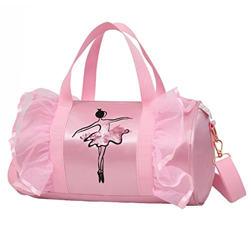 (Cute Ballet Dance Bag Tutu Dress Bag with Necklace Girls (Pink2 of Long)