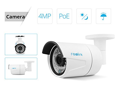 Reolink PoE Home Security Camera System 8CH 5MP NVR 2TB Hard Drive with 4 Outdoor 4 Megapixel ...