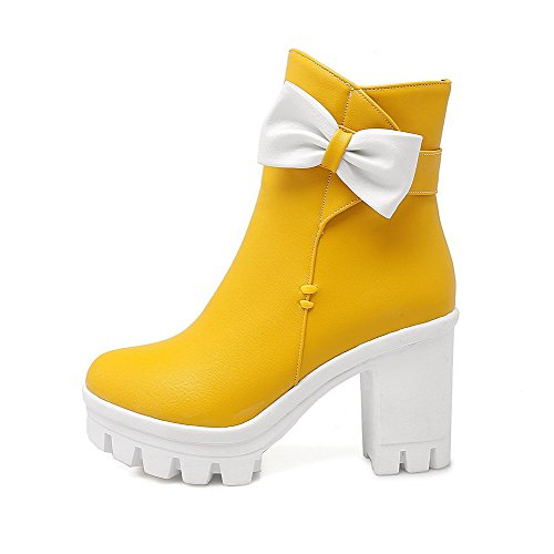 Allhqfashion Women's Low-Top Solid Zipper Round Closed Toe High-Heels Boots Yellow AO8Tw