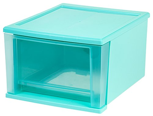 IRIS 17 Quart Stacking Drawer, 4 Pack, Blue