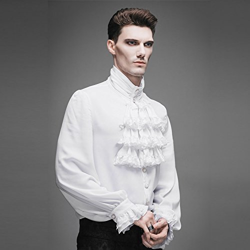 Devil Fashion Britische Steam Punk Gothic Pure White Shirt Herren High Collar Shirt, XL