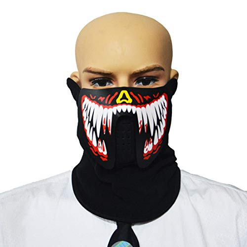 Sound Reactive Glowing Mask Led Mask Cool Party Mask Half Face for Festival Holloween Carnival Parade (Red Fang) ()