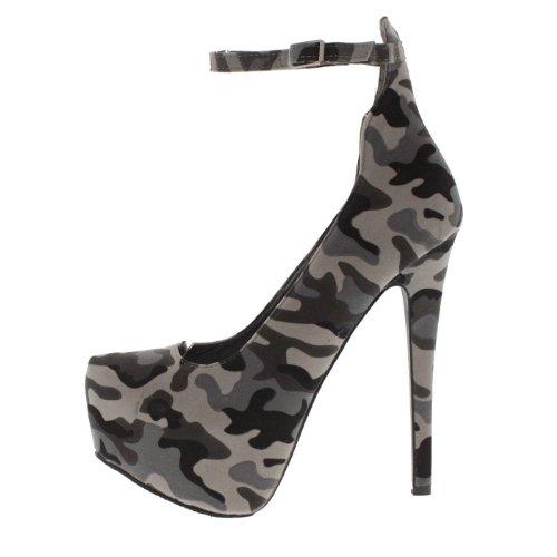 Ankle Camouflage Strap Heel Platform Pump 34 MARISA Women's Grey Stiletto Breckelle's High 4WqFwSSn0P