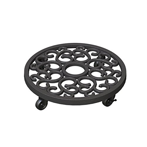 Caddy Iron Plant Cast (Panacea 84725 Heavy Weight Cast Iron Scroll Plant Caddy - 12 Inch)