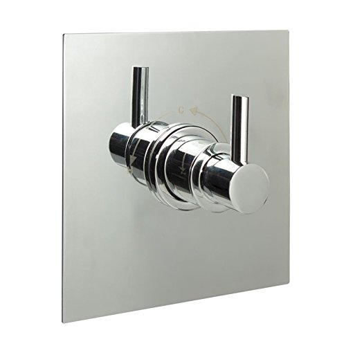 Sequential Shower Faucet Valve Chrome Square Plate & Modern Lever Handle by Hudson Reed