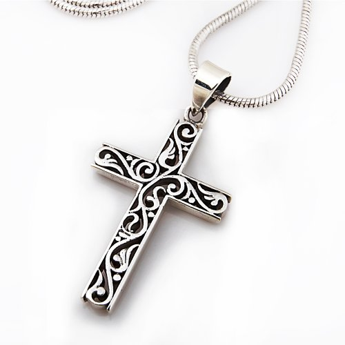 925 Sterling Silver Filigree Celtic Cut-Out Cross Pendant on Alloy Necklace Chain, 18 inches - Alloy Cross Pendant
