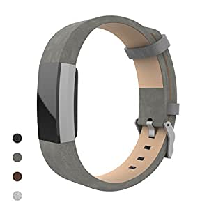 Fitbit Charge 2 Band, Bear Village® Genuine Leather Band for Fitbit Charge 2, Adjustable Replacement Sport Bracelet Wrist Bands/Straps for Fitbit Charge 2 Smart Fitness Tracker - Suede Grey